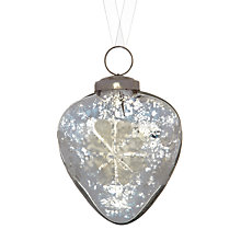 Buy John Lewis Mercurised Heart Engraved Glass Bauble, Silver Online at johnlewis.com