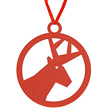 Buy House by John Lewis Laser Cut Reindeer Tree Decoration, Red Online at johnlewis.com