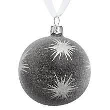 Buy John Lewis Frosted Star Glass Bauble, Black Online at johnlewis.com