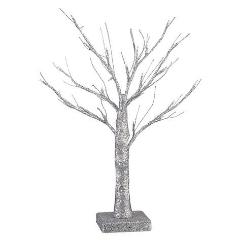 Buy John Lewis Battery Operated Indoor Pre-lit Christmas Tree, Silver Online at johnlewis.com