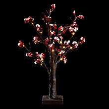 Buy John Lewis Battery Operated Indoor Berry Pre-lit Christmas Tree, Red Online at johnlewis.com