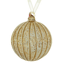 Buy John Lewis Ribbed Mercurised Glass Bauble, Gold Online at johnlewis.com