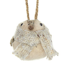 Buy John Lewis Knitted Wool Bird Tree Decoration, Grey Online at johnlewis.com