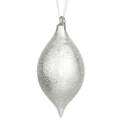 Buy John Lewis Sugar Glass Teardrop Decoration, Silver Online at johnlewis.com