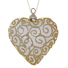 Buy John Lewis Beaded Glass Heart Decoration, Champagne Online at johnlewis.com