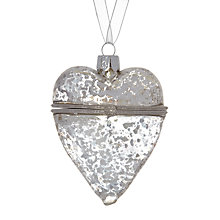 Buy John Lewis Mercurised Heart Trinket Glass Bauble, Silver Online at johnlewis.com