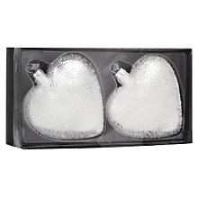 Buy John Lewis Glass Textured Heart,  White, Set of 2 Online at johnlewis.com