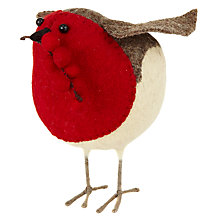 Buy Scandi-chic Medium Felt Robin with Berries Decoration Online at johnlewis.com