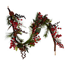 Buy John Lewis Premium Red Berry and Pine Cone Garland, L1.8m Online at johnlewis.com
