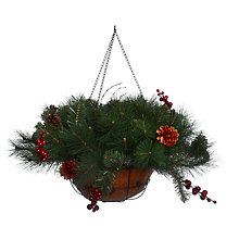 Buy John Lewis Pre-Lit Berry Hanging Basket, 70cm Online at johnlewis.com