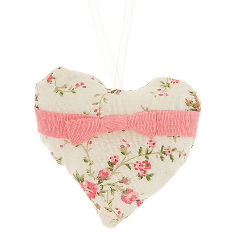 Buy John Lewis Floral Fabric Heart Tree Decoration, Assorted Online at johnlewis.com
