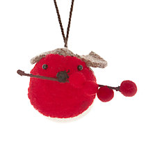 Buy Scandi-chic Felt Robin with Berries Tree Decoration Online at johnlewis.com