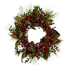 Buy John Lewis Premium Red Berry and Pine Cone Wreath, 66cm Online at johnlewis.com