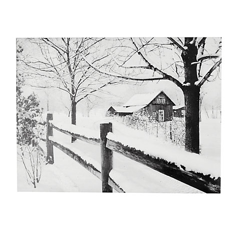 Buy John Lewis Battery Operated Country House Snow Scene Canvas Online at johnlewis.com
