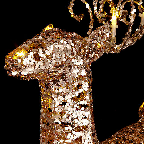 Buy John Lewis Indoor Battery Operated Pre-lit LED Glitter Standing Reindeer, Gold Online at johnlewis.com