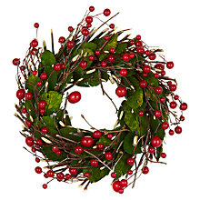 Buy John Lewis Mini Red Berry Wreath, 30cm Online at johnlewis.com