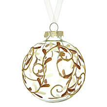 Buy John Lewis Glitter Mistletoe Glass Bauble, Gold Online at johnlewis.com