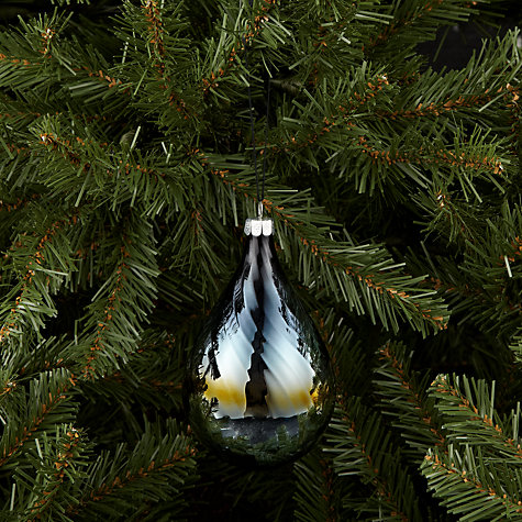 Buy John Lewis Irridescent Ribbed Glass Drop Tree Decoration, Black Online at johnlewis.com