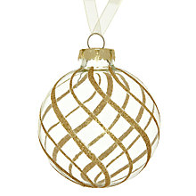 Buy John Lewis Glitter Swirl Glass Bauble, Gold Online at johnlewis.com