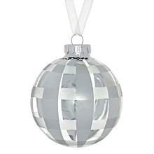 Buy John Lewis Checked Glass Bauble, Silver Online at johnlewis.com