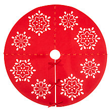 Buy John Lewis Snowflake Laser Cut Christmas Tree Skirt, Red Online at johnlewis.com