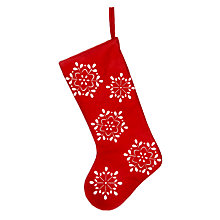 Buy John Lewis Rural Snowflake Christmas Stocking, Red Online at johnlewis.com