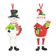 Buy John Lewis Claydough Wobbly Tree Decorations, Santa/Snowman Online at johnlewis.com