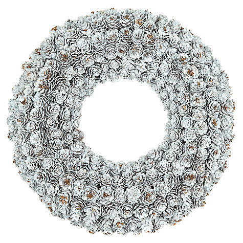 Buy John Lewis White Pine Cone Wreath, 36cm Online at johnlewis.com
