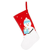 Buy John Lewis Christmas Snowman Stocking, Red Online at johnlewis.com