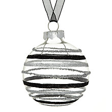 Buy John Lewis Glitter Stripe Glass Bauble, Silver/Black Online at johnlewis.com