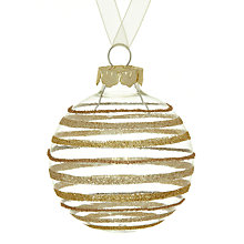 Buy John Lewis Glitter Stripe Glass Bauble, Gold Online at johnlewis.com