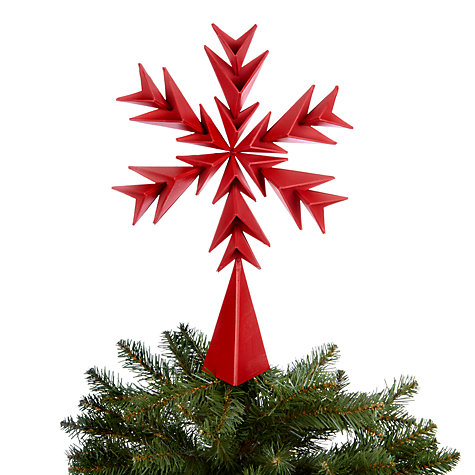 Buy House by John Lewis Origami Snowflake Tree Topper, Red Online at johnlewis.com
