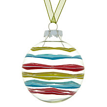 Buy House by John Lewis Stripe Bauble, Clear Online at johnlewis.com