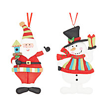 Buy John Lewis Knitted Claydough Tree Decoration, Santa/Snowman, Assorted Online at johnlewis.com