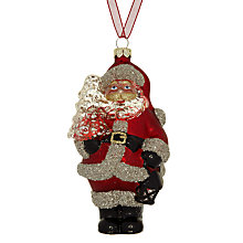 Buy John Lewis Rural Glass Santa Tree Decoration, Multi Online at johnlewis.com
