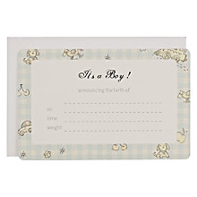 Buy It's a Boy Announcement Cards, Blue Online at johnlewis.com