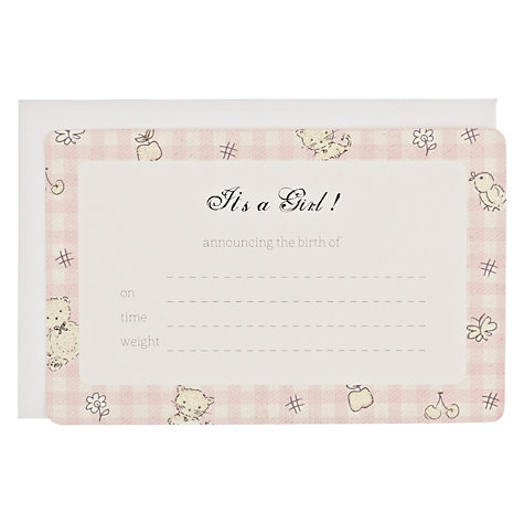Buy It's a Girl Announcement Cards, Pink Online at johnlewis.com