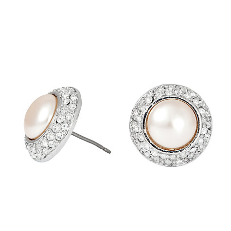 Buy Alan Hannah Pearl Crystal Surround Stud Earrings, Silver Online at johnlewis.com