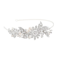 Buy Alan Hannah Crystal Flower and Leaf Headband, Silver Online at johnlewis.com