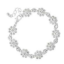 Buy Alan Hannah Filigree Crystal Flower Link Bracelet, Silver Online at johnlewis.com