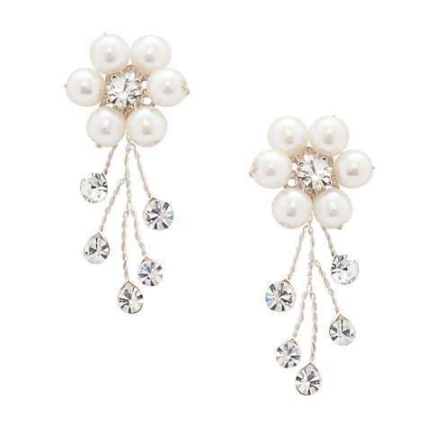 Buy Alan Hannah Crystal and Pearl Spray Drop Earrings, Silver Online at johnlewis.com