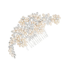 Buy Alan Hannah Crystal Flower and Pearl Cluster Hair Comb, Silver Online at johnlewis.com