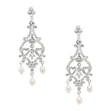 Buy Alan Hannah Filigree Chandelier Crystal and Pearl Earrings, Silver Online at johnlewis.com