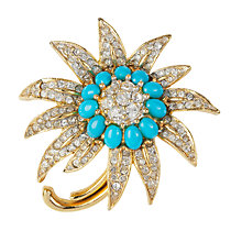 Buy Susan Caplan Vintage 1960s Jomaz Faux Turquoise and Crystal Brooch Online at johnlewis.com
