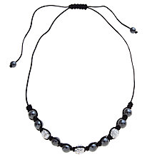 Buy John Lewis Shambala Pave Ball Necklace, Black/Silver Online at johnlewis.com