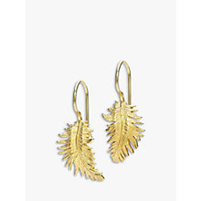 Buy Dower & Hall 18ct Gold Vermeil Small Feather Drop Earrings Online at johnlewis.com