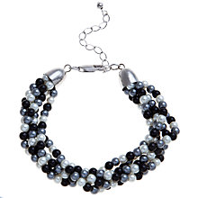 Buy John Lewis Faux Pearl Twist Bracelet, Black / White Online at johnlewis.com