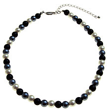 Buy John Lewis Faux Pearl Necklace and Earrings Set, Black / White Online at johnlewis.com