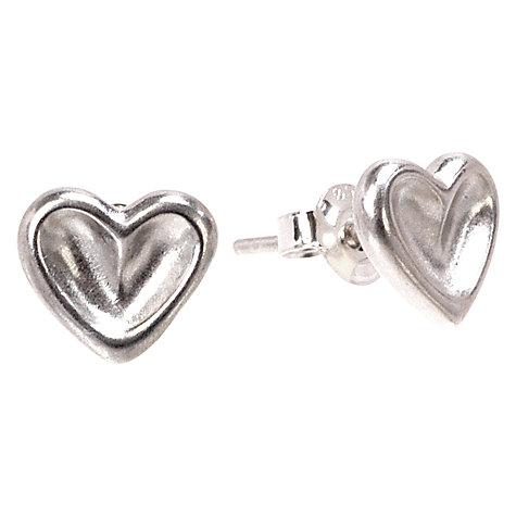 Buy Dower & Hall Dimpled Heart Sterling Silver Stud Earrings Online at johnlewis.com
