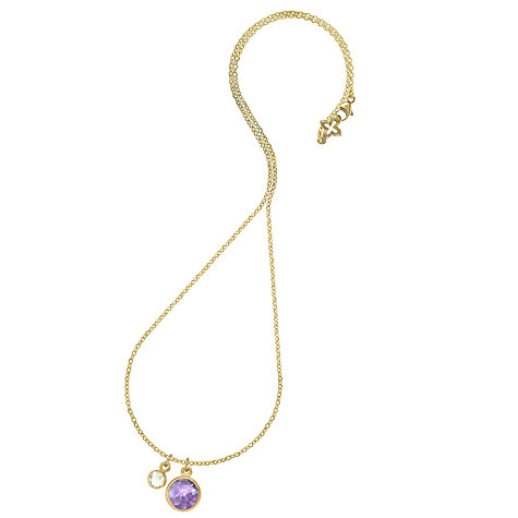 Buy Dower & Hall 18ct Gold Vermeil Double Jewel Amethyst and Lemon Quartz Pendant Online at johnlewis.com